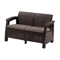 Dwuosobowa sofa Corfu love seat (brązowo-szarobeżowa) Keter