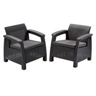 Zestaw krzeseł Corfu duo set (grafitowo-jasnoszary) Keter