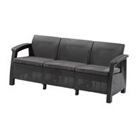 Trzyosobowa sofa Corfu love seat max (grafitowo-jasnoszara) Keter