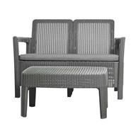 Zestaw: sofa ogrodowa + stolik kawowy (szary-jasnoszary) Tarifa Keter